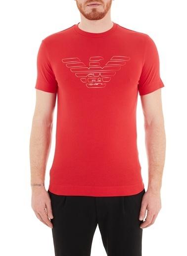 Emporio Armani  Baskılı Bisiklet Pamuklu T Shirt Erkek T Shırt 3K1Tca 1J11Z 0356 Kırmızı